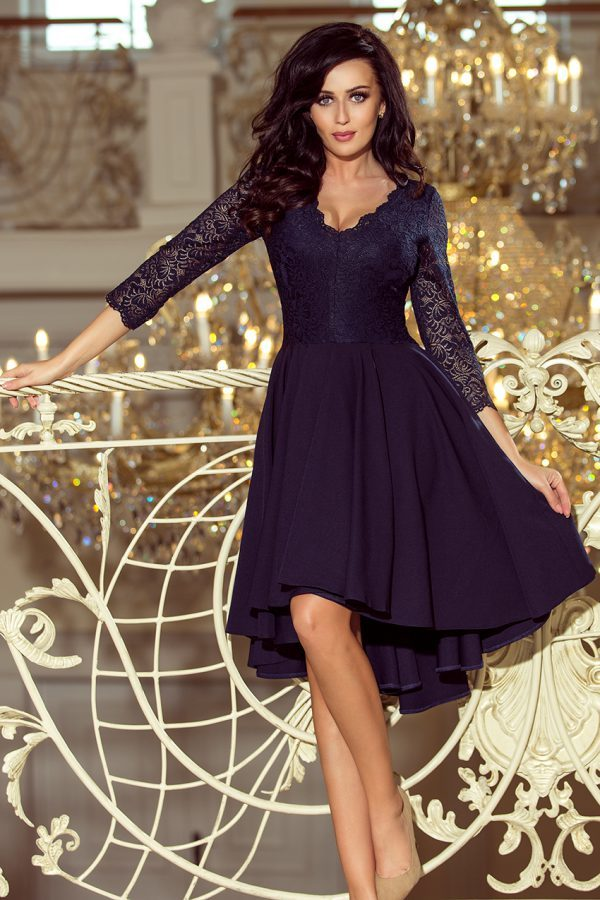 Sukienki wieczorowe midi Nicolle elegancka sukienka z koronką granatowa sukienka