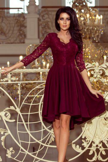 Sukienki wieczorowe midi Nicolle elegancka sukienka z koronką bordowa sukienka
