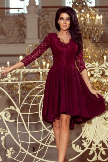 Sukienki midi Nicolle elegancka sukienka z koronką bordowa sukienka