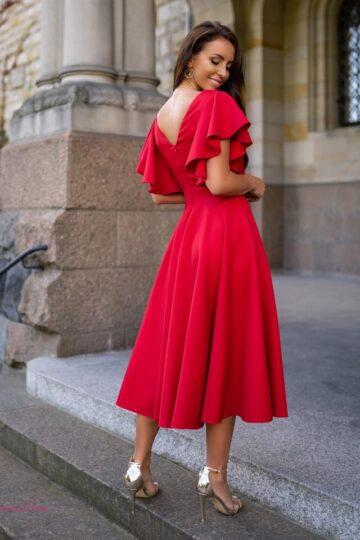 Sukienki wieczorowe LORA mocno kloszowana sukienka – czerwień kloszowana sukienka