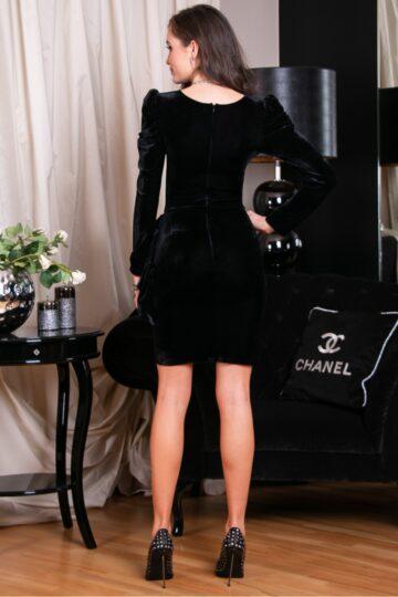 Sukienki wieczorowe Roco welurowa czarna marszczona  mini czarna sukienka