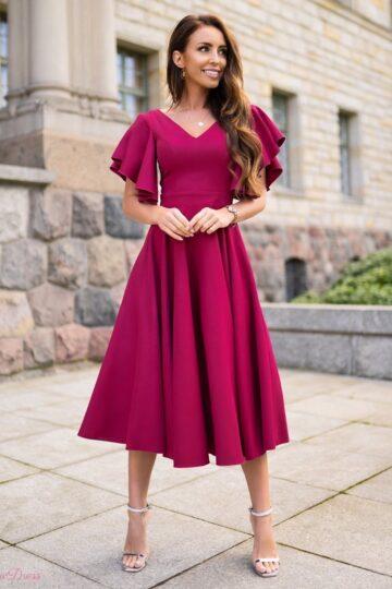 Sukienki wieczorowe LORA mocno kloszowana sukienka – amarant kloszowana sukienka