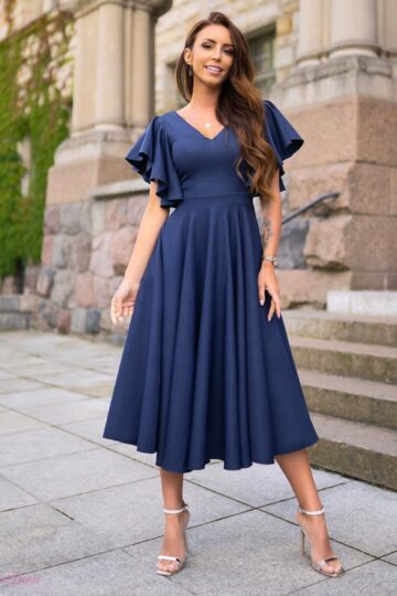 Sukienki wieczorowe midi LORA mocno kloszowana sukienka – granat kloszowana sukienka