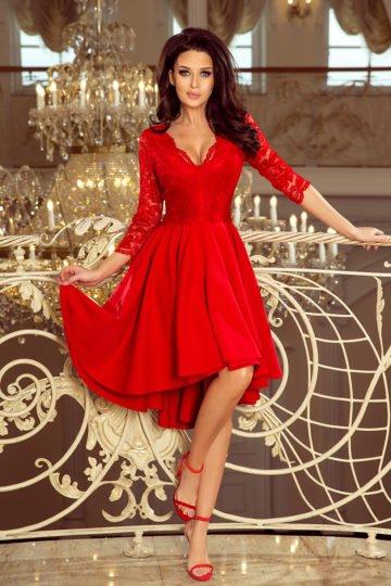 Sukienki wieczorowe midi Nicolle czerwona sukienka z koronką asymetryczna sukienka