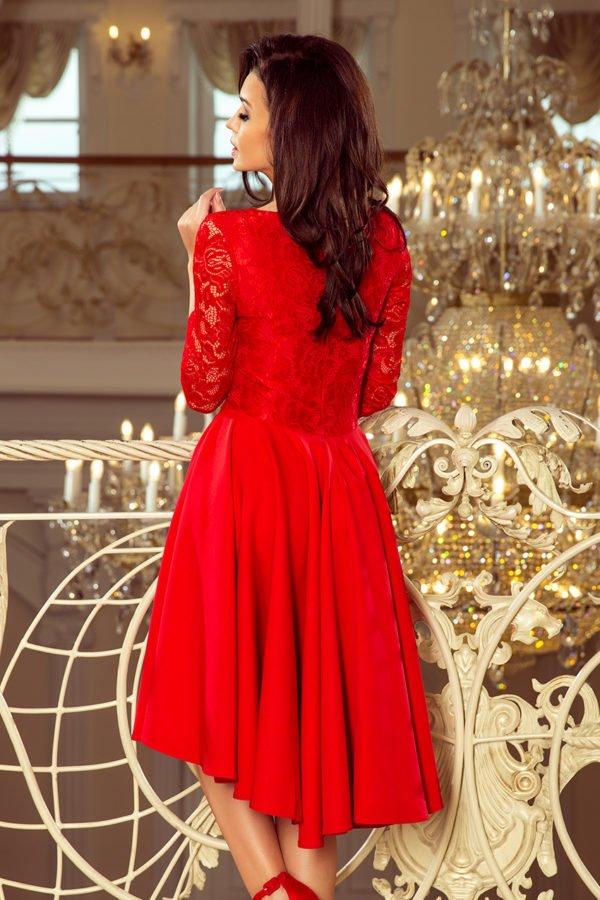 Sukienki midi Nicolle czerwona sukienka z koronką asymetryczna sukienka