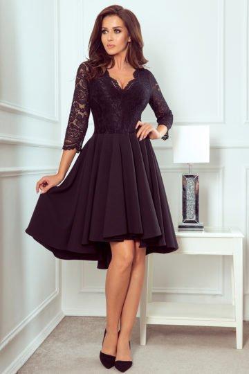 Sukienki wieczorowe midi Nicolle czarna sukienka z koronką asymetryczna sukienka