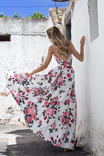 Sukienki codzienne maxi Emo Nina długa biała sukienka w róże chi chi london