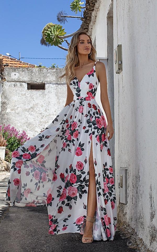 Sukienki codzienne maxi Emo Nina długa biała sukienka w róże sukienka midi