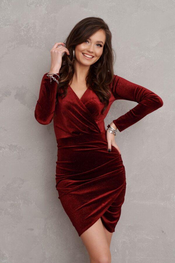 Sukienki wieczorowe Roco welurowa bordowa mini sukienka sukienka midi