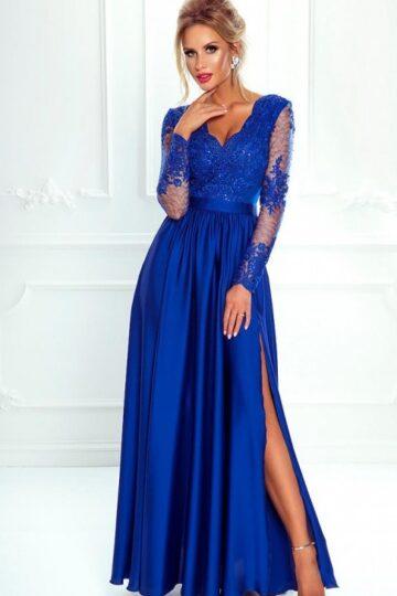 Sukienki wieczorowe maxi Emo Luna chabrowa długa wieczorowa  sukienka Długa sukienka