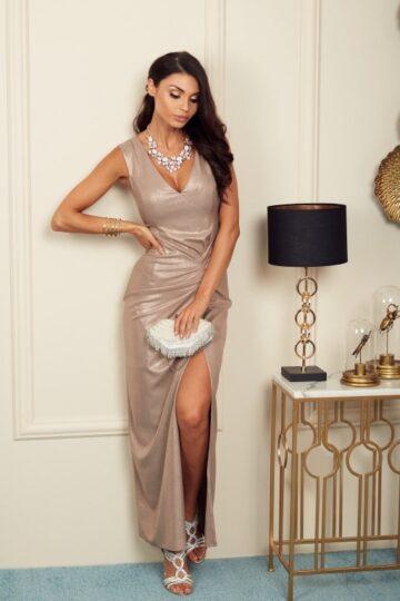 Sukienki wieczorowe Jennifer długa elegancka sukienka- złoto Długa sukienka