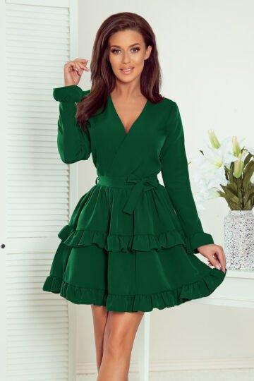 Sukienki codzienne mini CAROLINE urocza sukienka z falbanami eleganckie sukienki