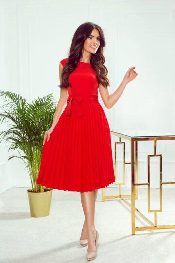 Sukienki codzienne midi Lila czerwona plisowana sukienka czerwona sukienka