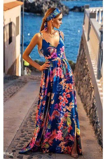 Sukienki codzienne maxi Emo Nina długa sukienka chabrowa w kwiaty Długa sukienka