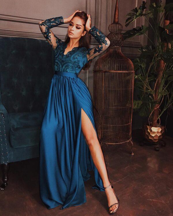 Sukienki wieczorowe maxi Emo Luna długa piękna haftowana sukienka Długa sukienka