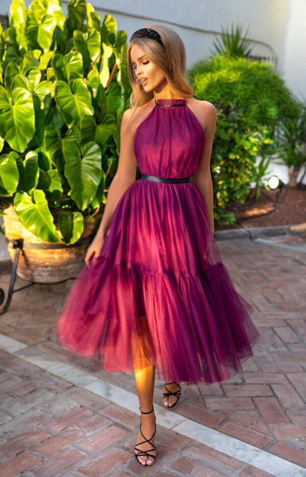 Sukienki wieczorowe midi EMO Lara tiulowa bordowa midi kloszowana sukienka