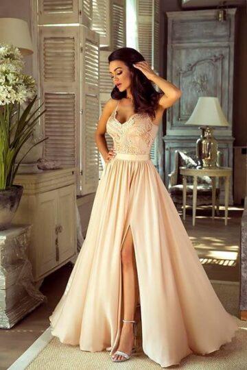 Sukienki wieczorowe maxi EMO Bella długa haftowana sukienka kloszowana sukienka