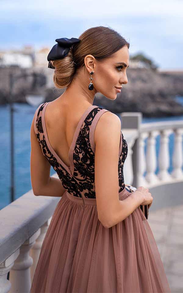 Sukienki wieczorowe EMO CHARLOTTE wyszywana wieczorowa sukienka kloszowana sukienka