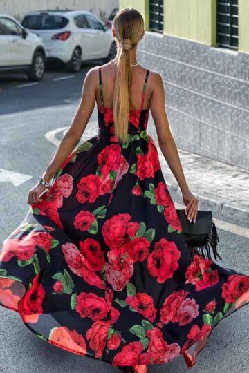Sukienki codzienne maxi Emo Nina długa czarna sukienka w czerwone róże Długa sukienka