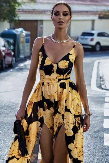 Sukienki codzienne maxi Emo Nina długa piękna sukienka  w kwiaty Długa sukienka