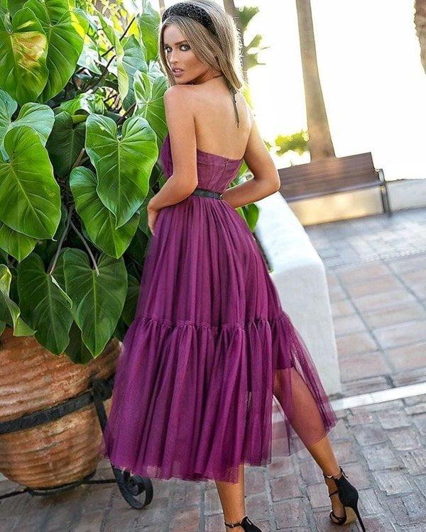 Sukienki wieczorowe midi EMO Lara tiulowa śliwkowa midi kloszowana sukienka