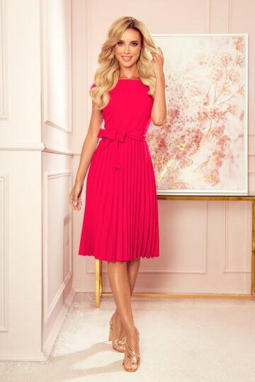 Sukienki codzienne midi Lila malinowa plisowana sukienka chabrowa sukienka