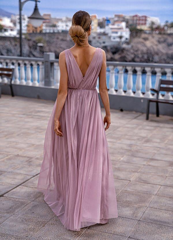 Sukienki wieczorowe maxi Emo Agnes długa tiulowa sukienka puder sukienka midi