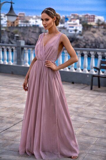 Sukienki wieczorowe maxi Emo Agnes długa tiulowa sukienka chi chi london