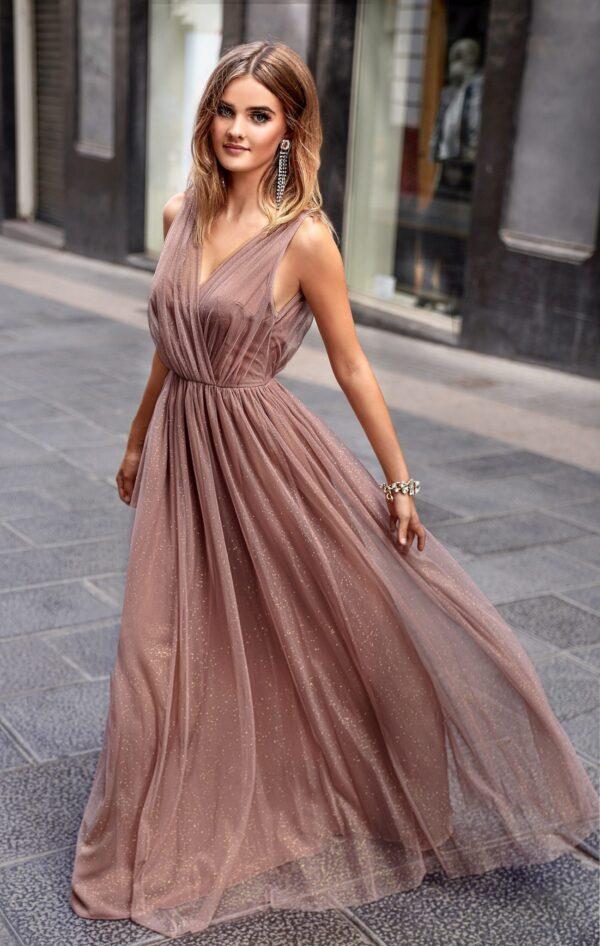 Sukienki wieczorowe maxi Emo Agnes długa tiulowa sukienka-cappuccino chi chi london