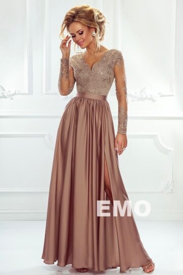 Sukienki wieczorowe maxi Emo Luna długa elegancka sukienka capucinno Długa sukienka
