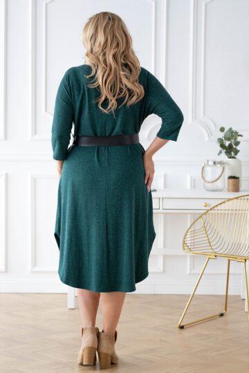 Plus Size Ciepła długa sukienka z angorą butelkowa zieleń kloszowana sukienka