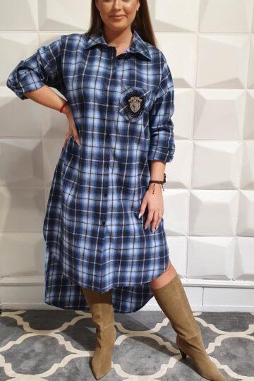 Plus Size Revlo niebieska koszulowa sukienka w kratkę koszulowa sukienka