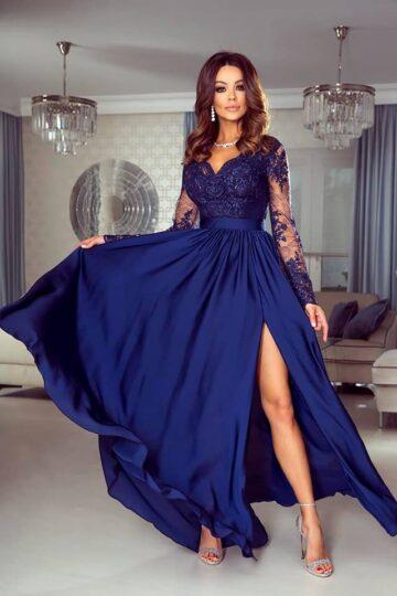 Sukienki wieczorowe maxi Emo Luna elegancka długa sukienka – granat Długa sukienka