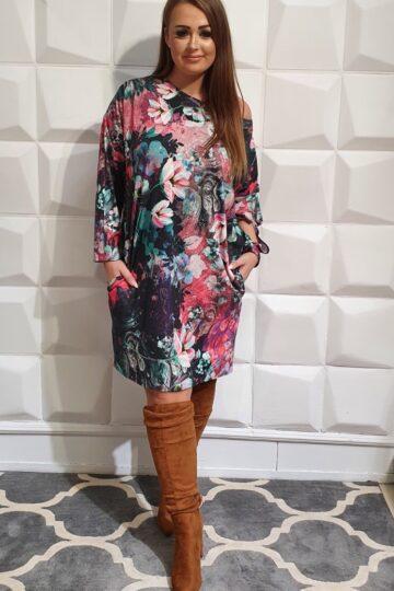 Plus Size Wzorzysta wygodna luźna sukienka Duo sukiena na jesień