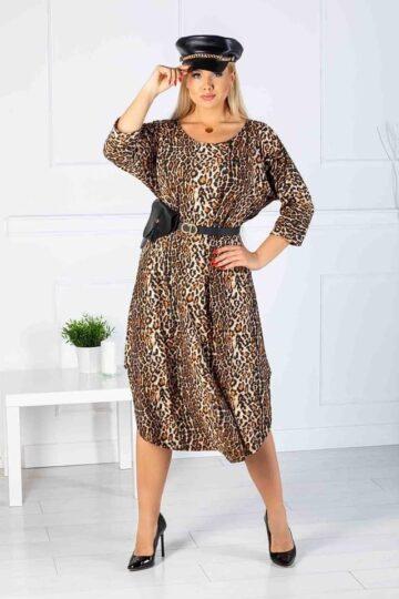Plus Size Ciepła długa sukienka z angorą panterka kloszowana sukienka