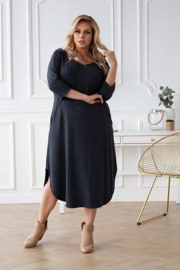 Plus Size Ciepła długa sukienka z angorą Grafit kloszowana sukienka