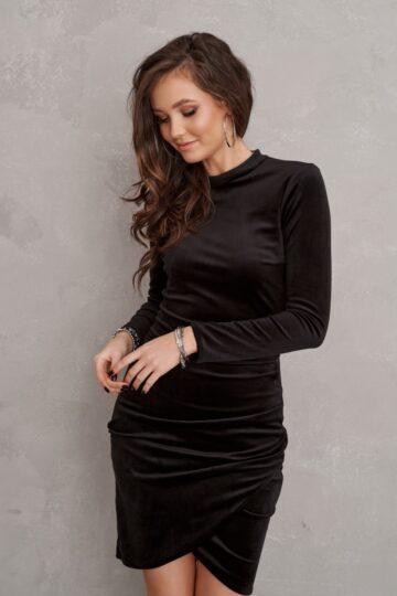 Sukienki wieczorowe Roco welurowa krótka czarna sukienka mini sukienka