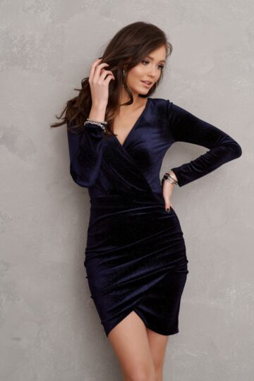 Sukienki wieczorowe Roco welurowa granatowa mini sukienka sukienka midi