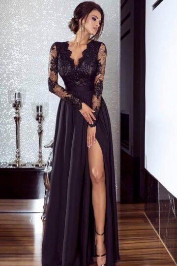 Sukienki wieczorowe Emo Luna czarna elegancka sukienka wieczorowa Długa sukienka