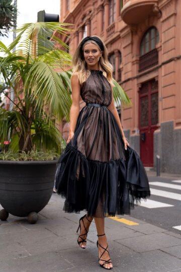 Sukienki wieczorowe EMO Lara kobieca tiulowa sukienka kloszowana sukienka
