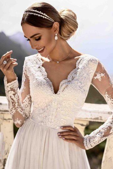 Sukienki wieczorowe EMO Adel haftowana biała sukienka kloszowana sukienka