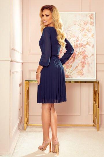 Sukienki codzienne midi Isabella  plisowana szyfonowa midi – granat sukienka midi