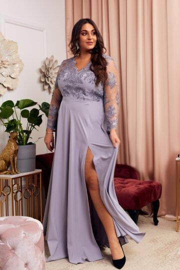 Plus Size Paula szara kobieca sukienka z koronką Długa sukienka