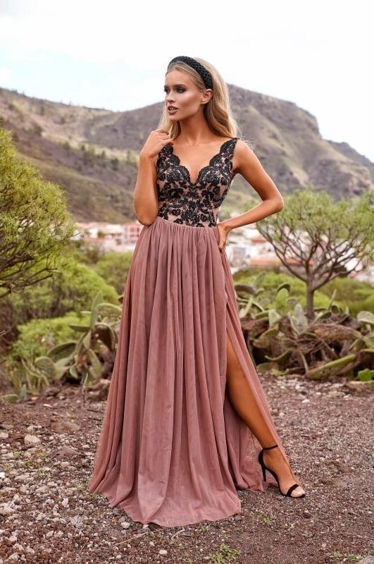 Sukienki wieczorowe maxi EMO CHIARA haftowana wieczorowa sukienka kloszowana sukienka