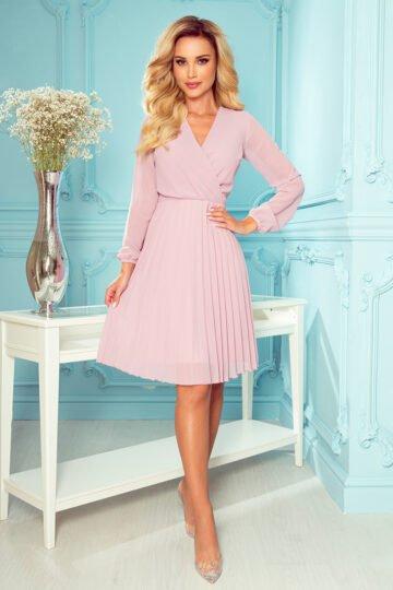 Sukienki codzienne Isabella  plisowana szyfonowa midi – puder sukienka midi