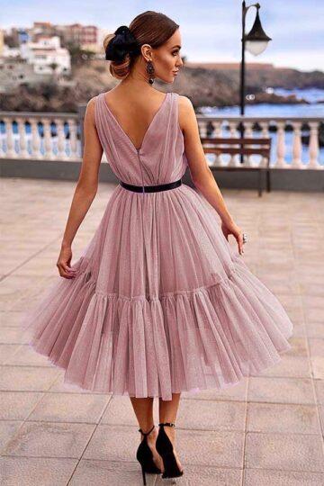 Sukienki wieczorowe Emo Paris tiulowa kloszowana midi – bakłażan kloszowana sukienka