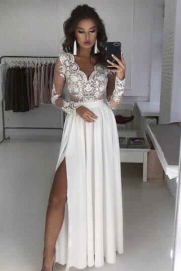 Sukienki wieczorowe Emo Luna biała sukienka do ślubu z haftem Długa sukienka