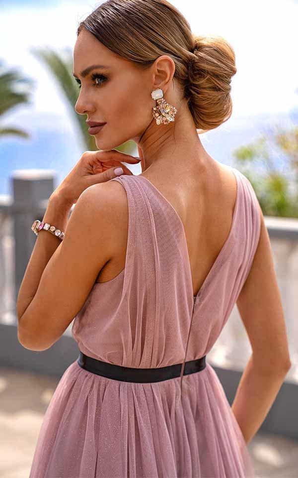 Sukienki wieczorowe Emo Paris tiulowa kloszowana midi – nude kloszowana sukienka