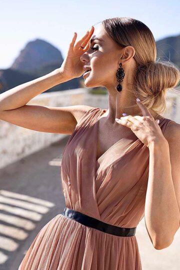 Sukienki wieczorowe Emo Paris tiulowa kloszowana – cappuccino kloszowana sukienka