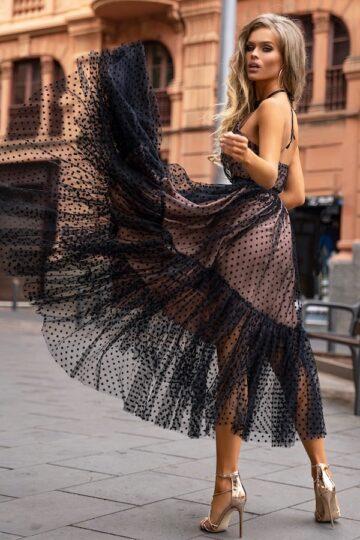 Sukienki wieczorowe EMO Lara kobieca tiulowa w groszki kloszowana sukienka